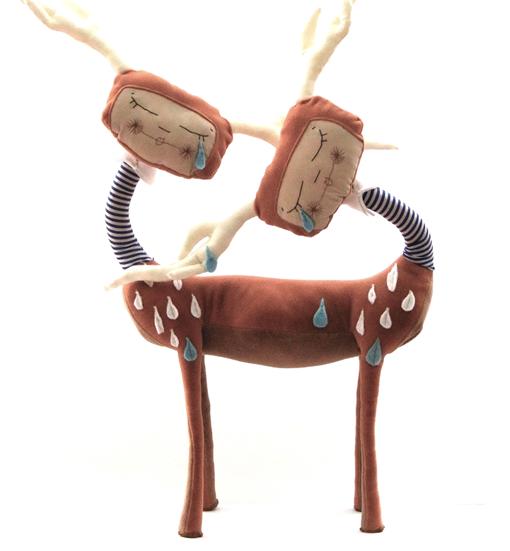 Кукла олененок тяни - толкая из ткани
