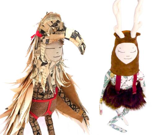 Куклы из ткани птичка и олененок
