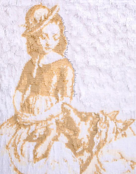 Портрет девушки в апликации из цветной и белой бумаги