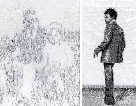 Объемные картины из цветной бумаги и газет