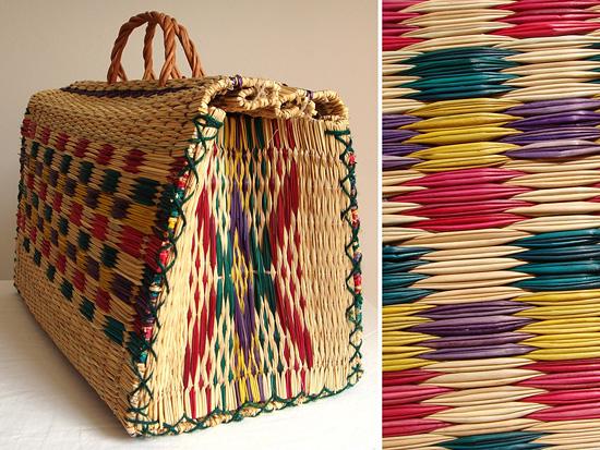 Плетеная квадратная сумка-корзина из соломы