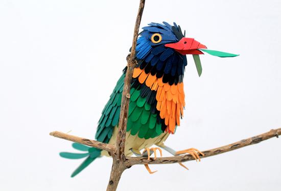 Объемные птицы из цветной бумаги