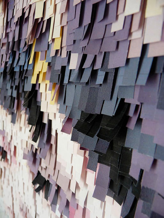 Объемные аппликации из кусочков бумаги