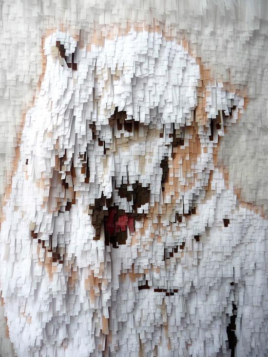 Объемные картины из цветной и белой бумаги медведь