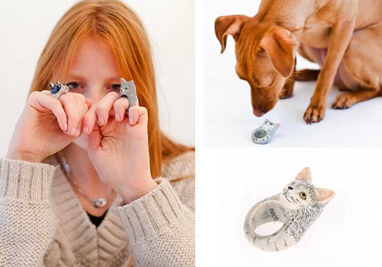 Такое фарфоровое кольцо с кошкой можно сделать своими руками из глины