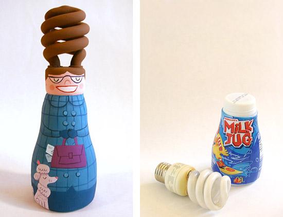 Игрушки из бутылок и лампочек своими руками