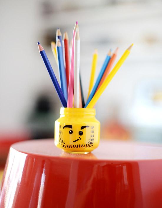 Декорирование банки для детей в стиле Лего
