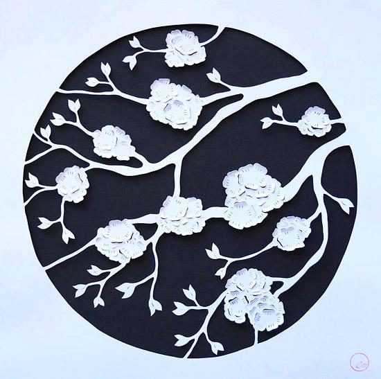 вырезание картин из бумаги цветы сакуры