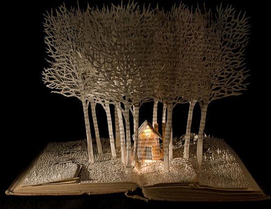 объемные композиции с деревьями из бумаги