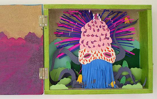 объемная композиция из бумаги морское чудовище
