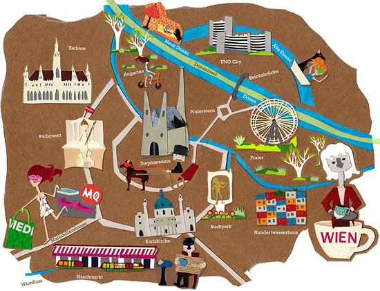 карта города аппликации из цветной бумаги