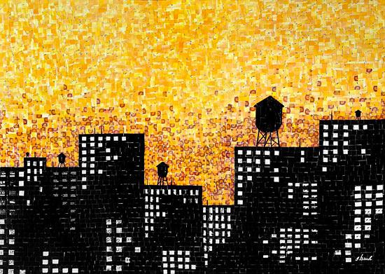 картина аппликации из бумаги города Нью-Йорка