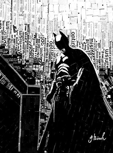 "поделка картина в технике аппликации из бумаги ""Бетмен"""