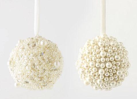 Елочные шары декорированные бусинами и стразами