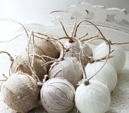 Елочные шары декорированные тканью