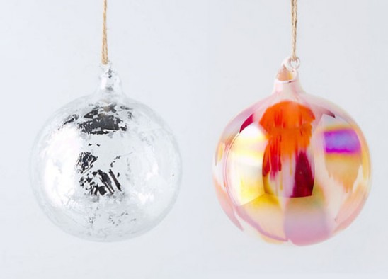 Елочные шары с сусальным серебром и перламутром