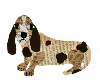 аппликация из бумаги собачка