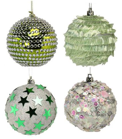 Новогодние шары декорированные блестками и мишурой
