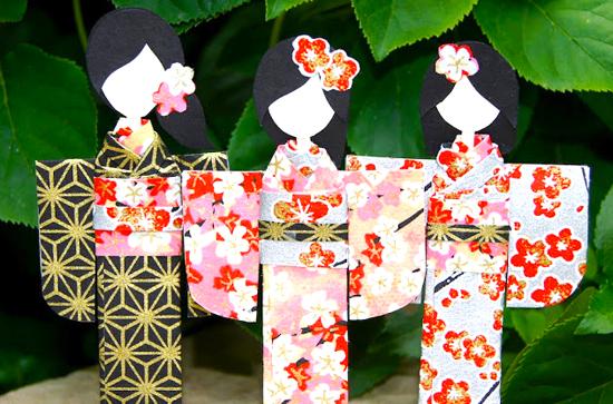 Японские куклы из бумаги